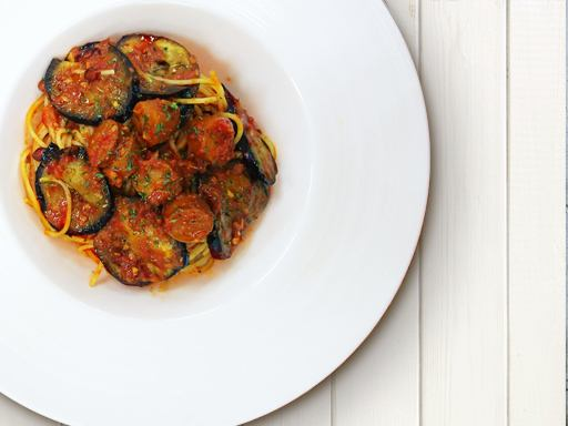 Arrabiata of eggplant and chorizo