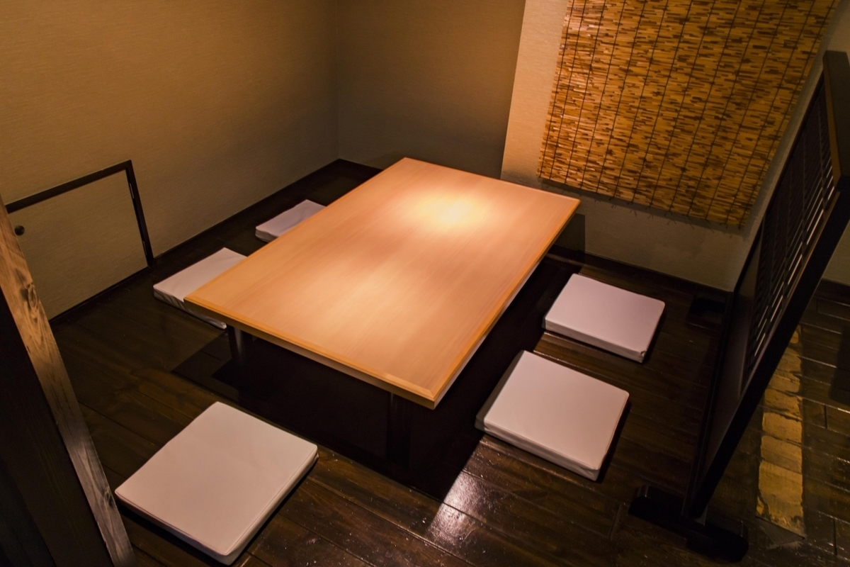Low tables with holes in the floor for legroom