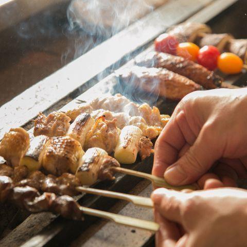 享受雞肉烤雞肉串的奢華美味