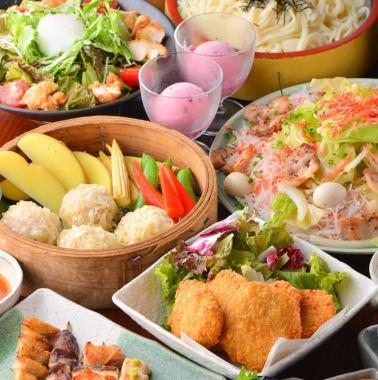 ◆秋田特产!比内地鸡,乌冬面稻庭流畅当然◆所有的9道菜(菜只A)4860日元(含税)