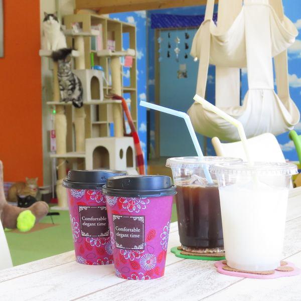 Coffee (hot · ice), tea (hot · ice), cappuccino, matcha latte, yuzu tea etc ...