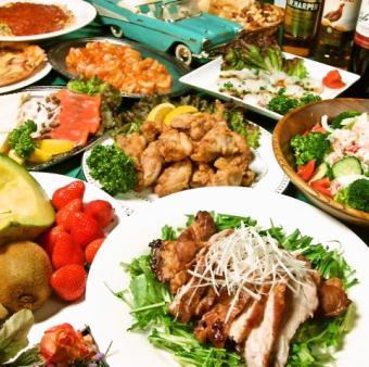 ★B套餐★10道美食·2.5 H免費晚上包括5000日元(不含稅)!!(30至55位客人包括特權)