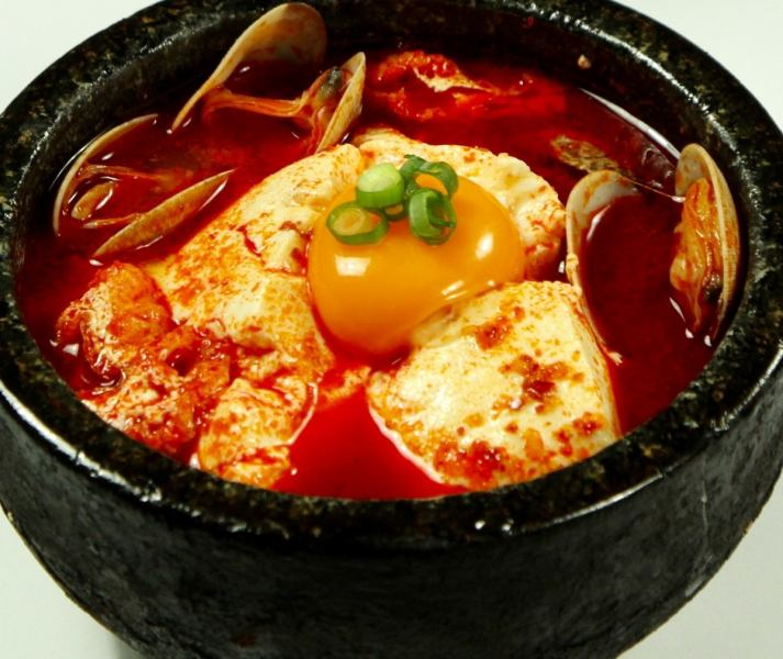 Sundubu (hot pot with popping tofu on hot soup)