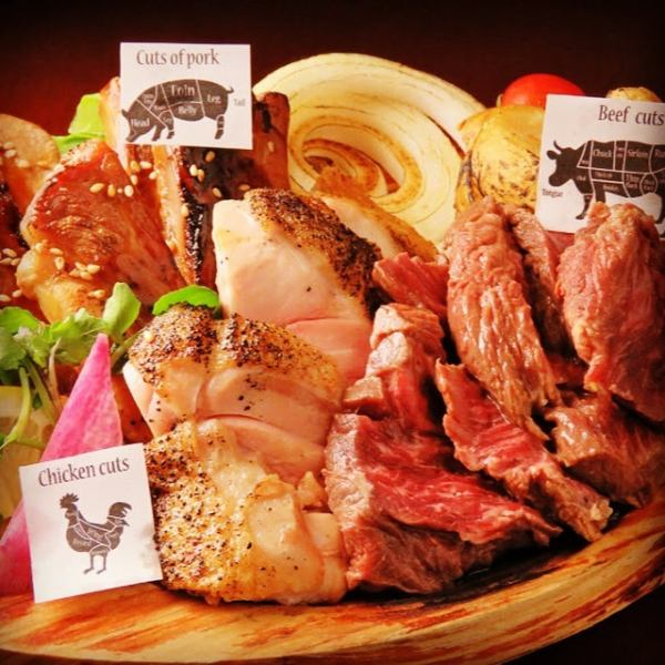 ◆ Meat Power Combo ◆ Beef Harami Steak, Pork Sparerib, 3 Grilled Chicken Serves