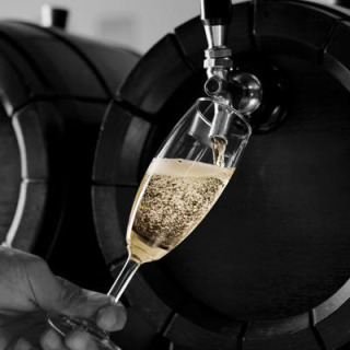 Italian local barrel filling sparkling wine red and white