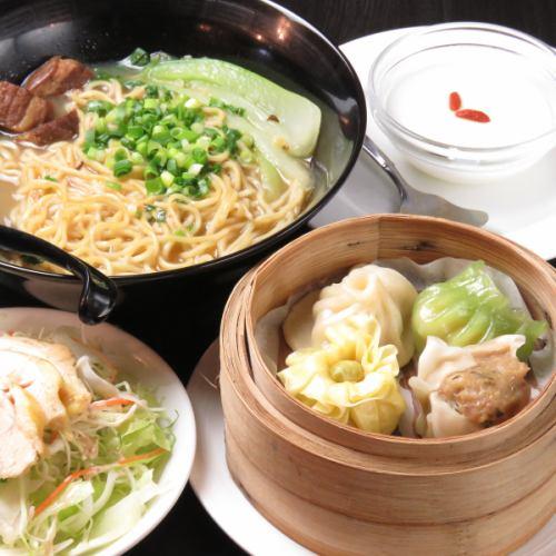 彩り点心4種+ミニ炒飯orミニ角煮麺+棒棒鶏サラダ+デザート