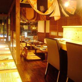 店内全体が和モダンな雰囲気で落ち着いてご飲食をお愉しみ頂けます。