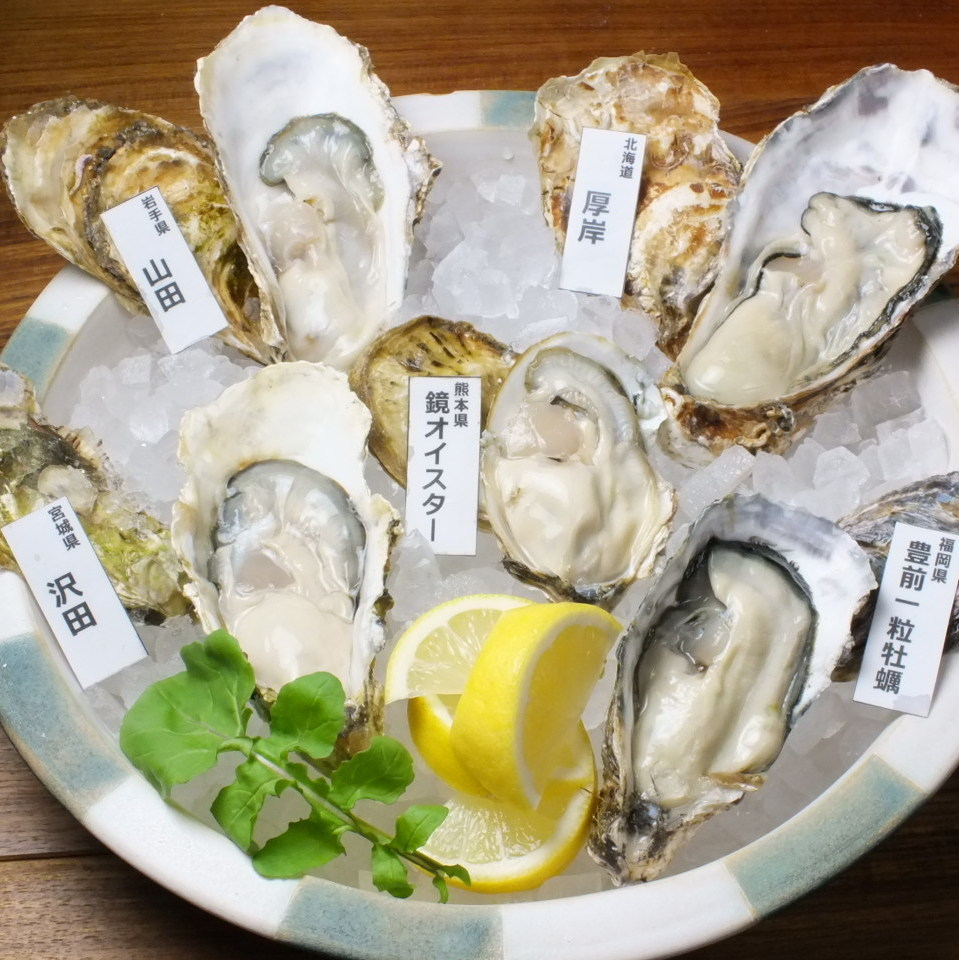 5 oysters selected from all over the country are 2080 yen (excluding tax)!