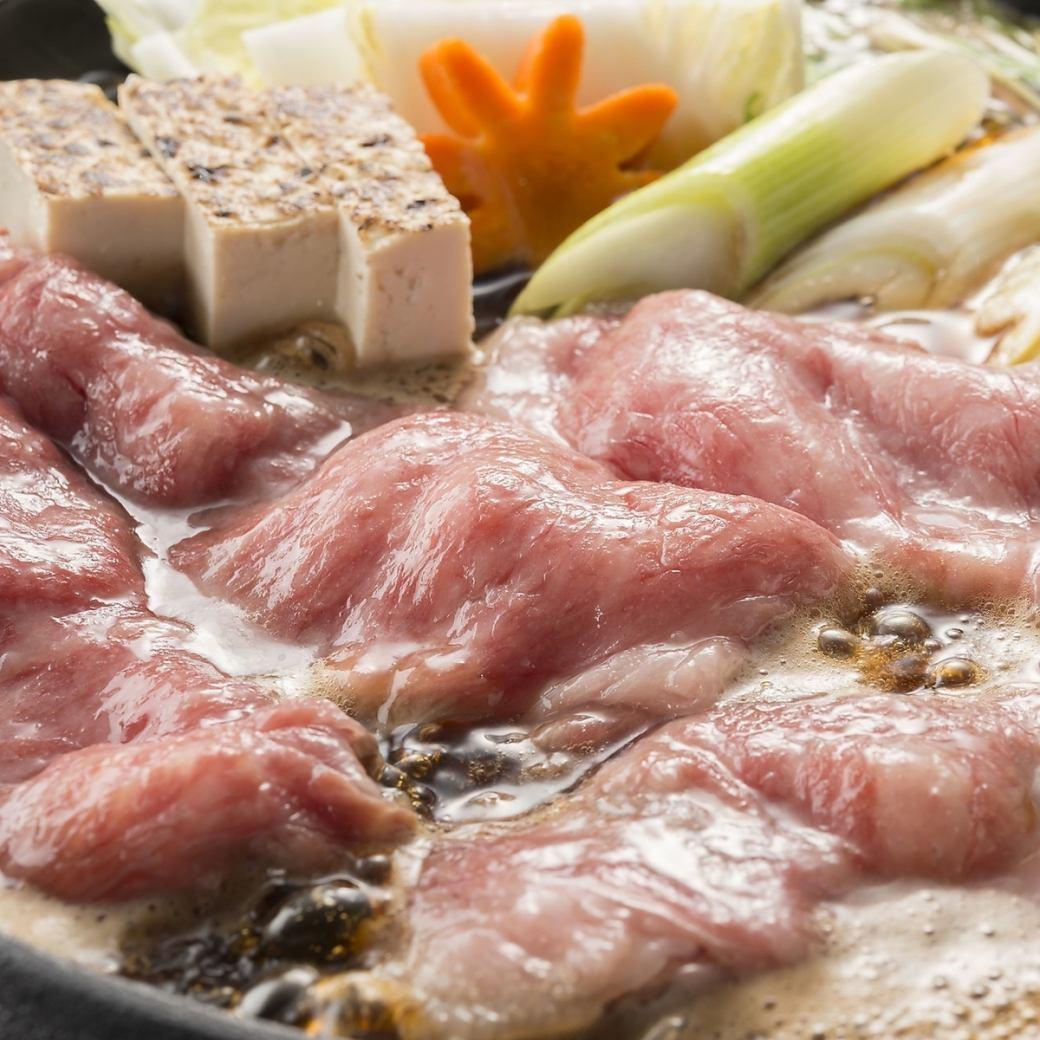 厳選したA4ランクの黒毛和牛を使用した一人鍋は980円(税抜)!
