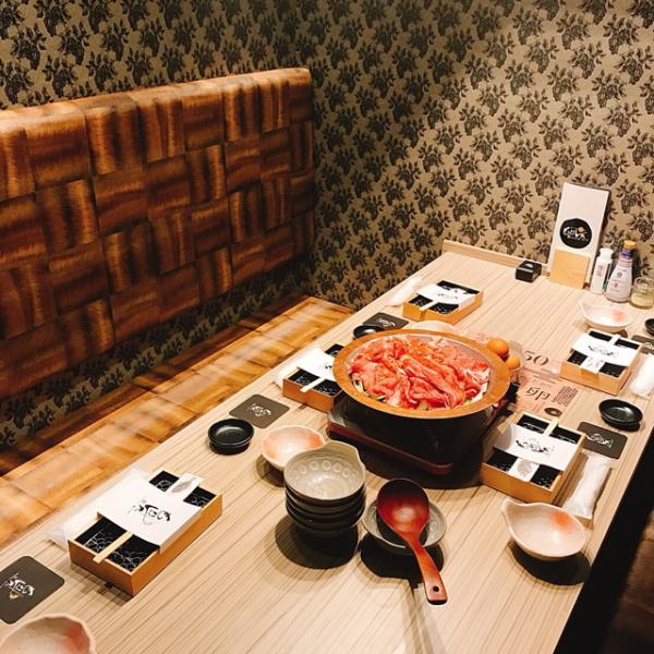 唯一の完全個室は6名様までご利用可能です。大切な方とのお食事にご利用ください。
