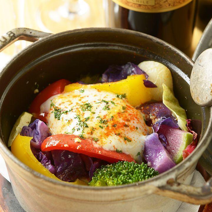 당점 명물! 계절 0831 듬뿍 베지로카스토우부 냄비 ~ 야채 수프 & 온천 달걀 ~