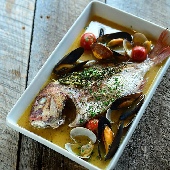 A fresh fish aquapazza whole body