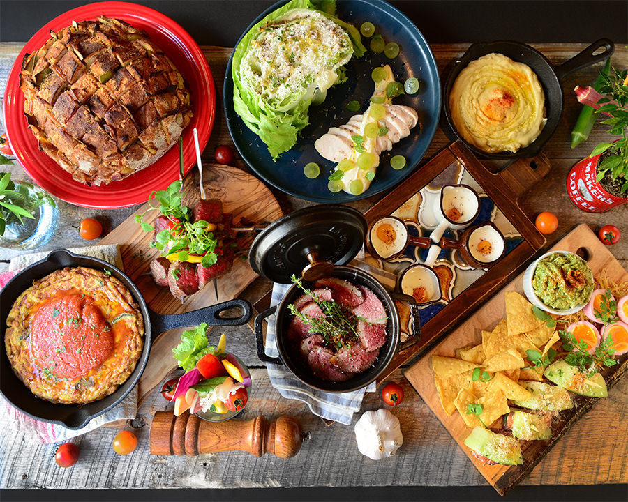 A variety of dishes using plenty of vegetables