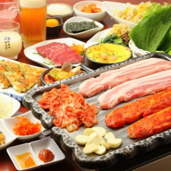 【Raw Samgyeopsal & Selectable Pot Course】 2H All you can drink All 20 items 4480⇒ 4080 yen (3 people ~)