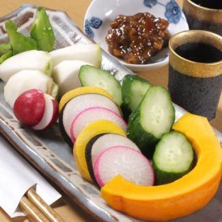 Seasonal vegetables with Jinshanji Miso