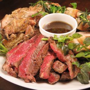 【예약 한정】 ◆ 다테 고기 MEGA 모리 코스 2 시간 음료 뷔페 포함 4500 엔 ◆