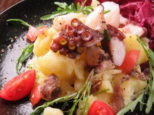 An魚用三文魚的章魚和土豆溫暖沙拉