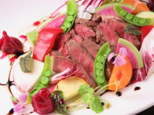 One dish in summer! Talliata of beef Misji and ground vegetables grill Summer sauce Japonais