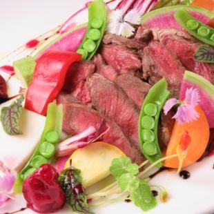 ◆【NEW絶品牛ミスジ肉ステーキ&地野菜グリル】 夏のラルームコース(飲放120分付き)◆