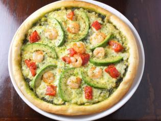 Shrimp and avocado pizza genovese