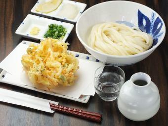 Kakiage Raw Soy Sauce / Kakiage Zaru Cold / Warm ★ Large crispy fried vegetables are included.