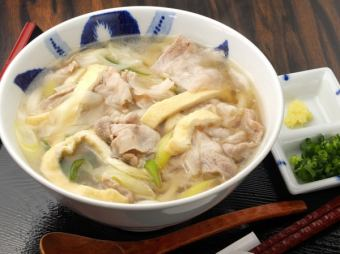 Meat chopped udon noodles