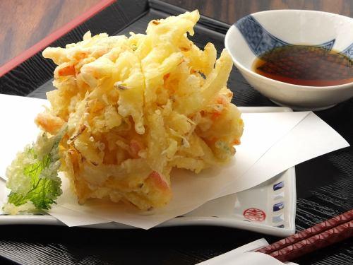 Kakiage of big vegetables (onions, potatoes, carrots, squash, green onions, maitake mushrooms)