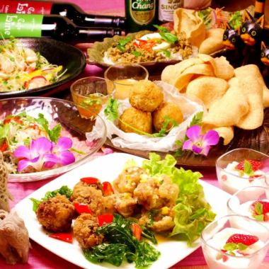 «Tuesday - Thursday lunch time» Line's Asian course A plan ★ All 7 items 2.5 H with all you can drink ♪ 3500 yen ♪