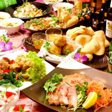 «Tuesday - Thursday lunch time» Line's Asian course B plan ★ All 9 items 2.5 H with unlimited drinks ♪ 4000 yen ♪