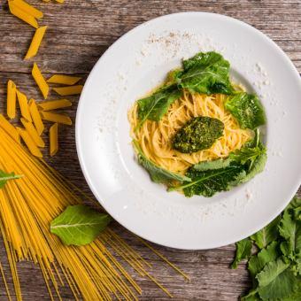 有機農園で採れたケールとケールペーストのクリームスパゲティ