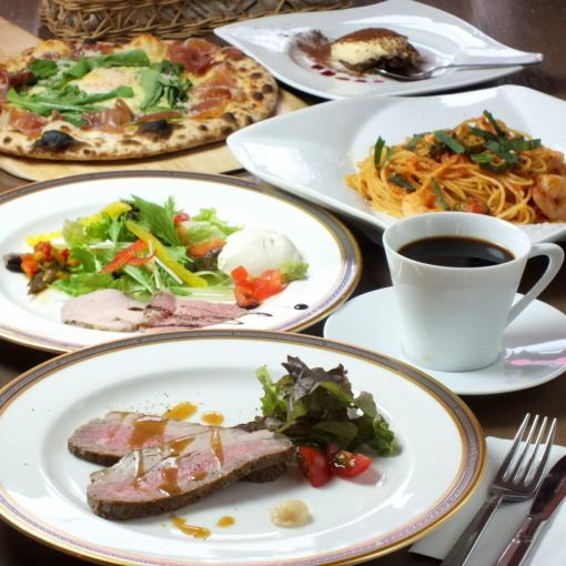 预订午餐套餐!【自制厚烤牛肉和石窑比萨饼,正宗面食计划】2300日元