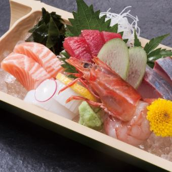Five raw fish sashimi
