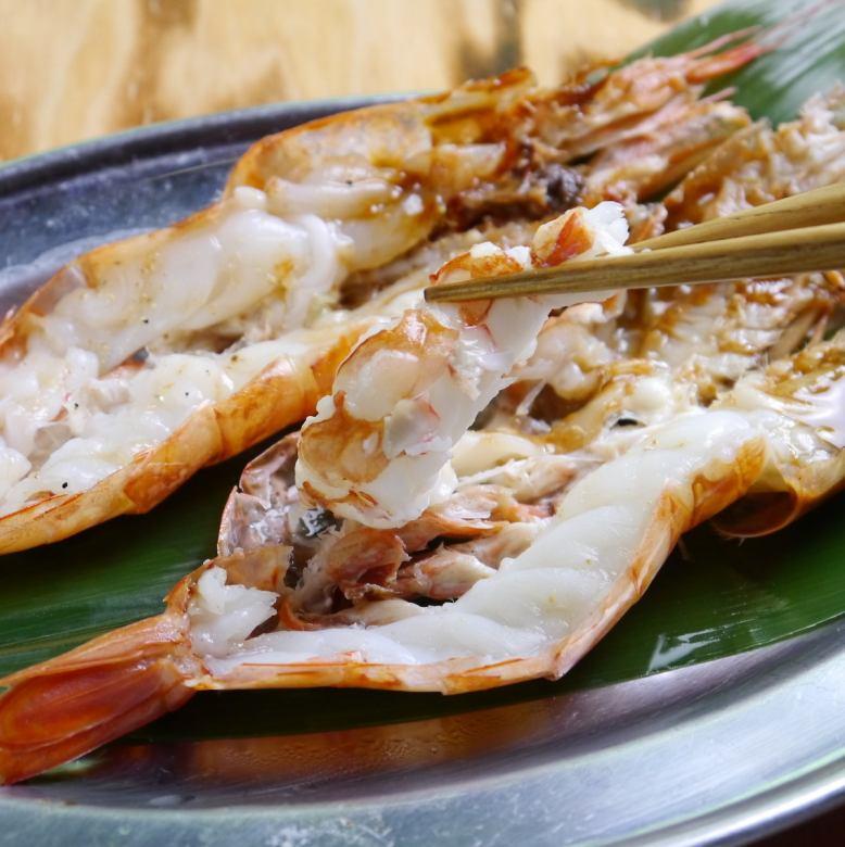 Teppan-yaki with caught shrimps (2 fish)