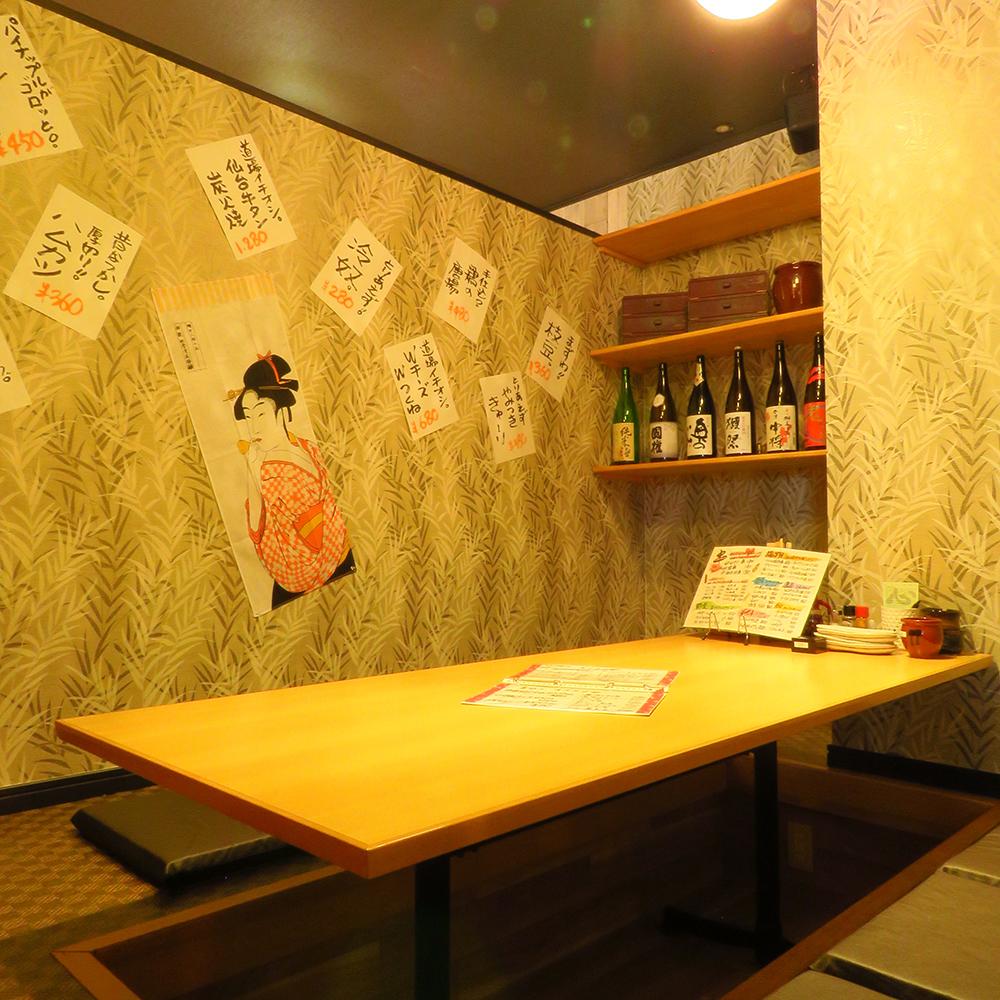 開放感あふれる店内とはまた違う雰囲気の掘りごたつ式個室