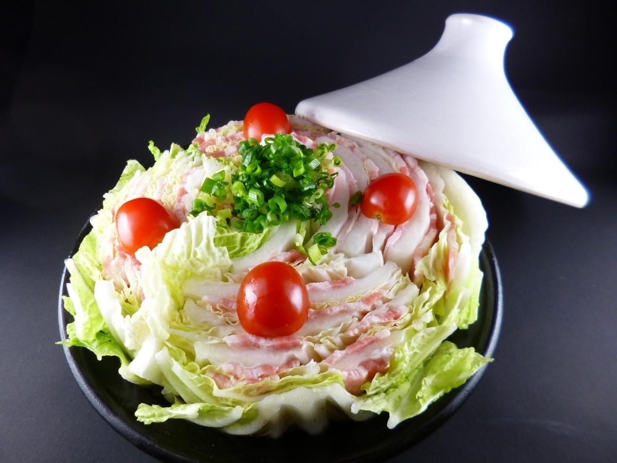 猪肉和白菜mille-feuille火锅