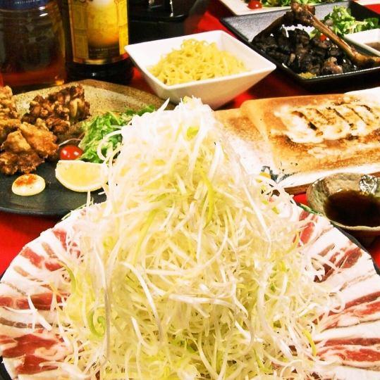 """著名料理""""黑豬Negi Shabu""""+刺繡5支等全天自動離開8項+ 2H與[飲用] 4700日元"""