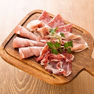 Assorted raw ham