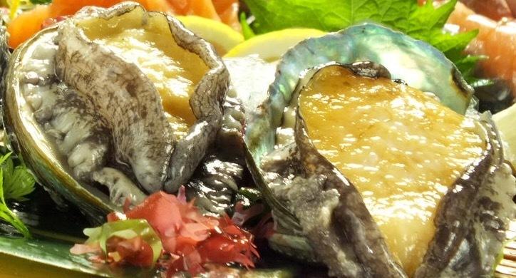 Activated abalone, sashimi · butter roast