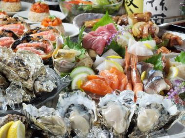 ★ Our 2 boasted courses boasting <oyster / draft beer including 120 minutes drink> with 【seafood packed course】 ◆ special price 4000 yen ◆