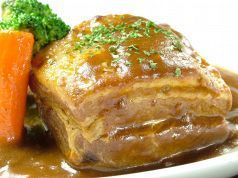 Pork belly boiled ~ demiglace sauce over ~ ~ thick cutting bacon steak