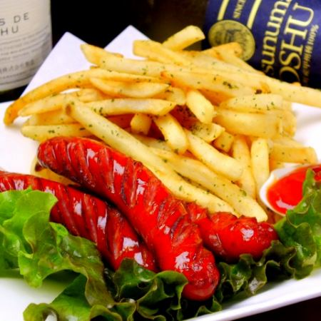 Grilled sausage with wine toners & fried potatoes