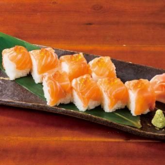 Living salmon stick sushi