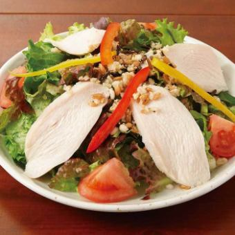 Healthy salad with steamed chicken and super food