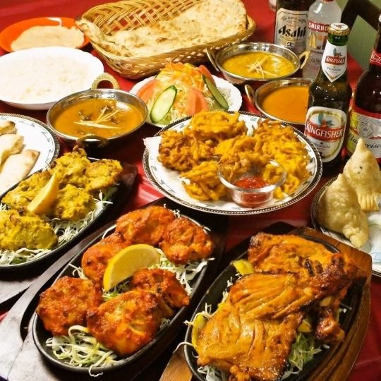 【Party Set B】 11 dishes Curry 3 types All you can eat & soft drink 150 minutes Unlimited drinks 3000 yen
