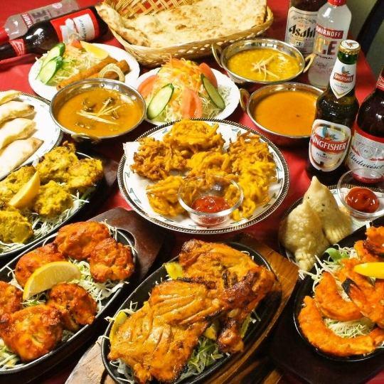 [파티 세트 D] 요리 15 품 카레 4 종 뷔페 & 알콜 150 분 맘껏 마시기 5000 엔