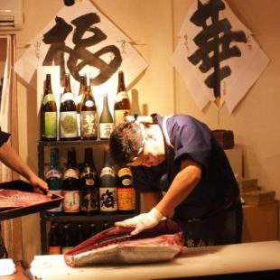 Dismantling show with! Tuna, sea bream, Hanakichi special all-you-can-drink course 6500 yen cooked in front of such eyes conger