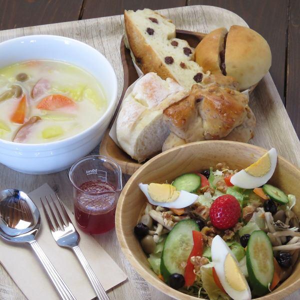 ≪農園ランチセット≫こだわりパン&旬の野菜と果物のサラダ&季節野菜のたっぷりスープ ※ネット予約限定