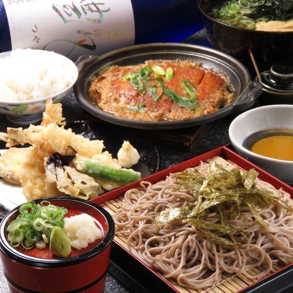 【ランチタイムに】天ざる1000円・カツ玉定食860円/お昼から元気満点!その他色々ございます。