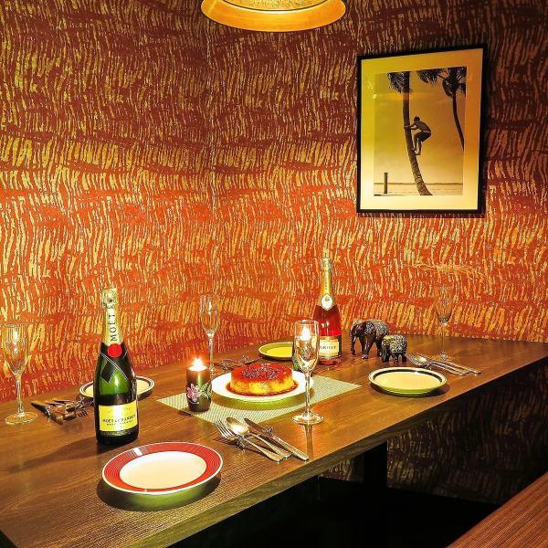 4名様~ご利用できる完全個室。スタッフ全員日本語が堪能なので安心実家がインドのホテルを運営しているオーナーが丁寧な接客を心掛けています。!《銀座/個室/飲み放題/ランチ/誕生日/記念日/女子会/新橋/完全個室/肉/カレー/インド料理》