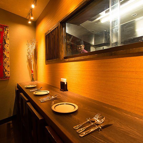 最大4名様までご利用可能なカウンター席!お一人様の食事利用も大歓迎です!!《銀座/個室/飲み放題/ランチ/誕生日/女子会/新橋/完全個室/肉/カレー/インド料理》